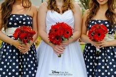 Spring is in the air with red gerber daisy bouquets and polka dot bridesmaid dresses