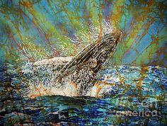 Beach in the Bay - Humback Whale Batik Art on Silk by Sue Duda original batiks, prints and products! Fish Ocean, Ocean Art, Batik Art, Marine Environment, Art Music, Underwater, Whale, Vibrant Colors, Art Ideas