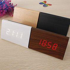 Triangular Wooden LED Alarm Clock Wood Digital by Coffietbir