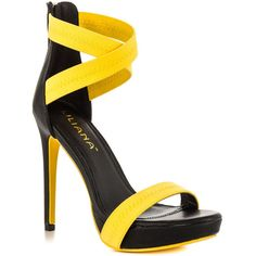 Wind up your look in the Throwback from Liliana. This two toned sandal features bright yellow straps paired with chic black upper, 5 inch heel and 3/4 inch pla…