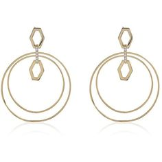 Chain Link Statement Hoops Gold ($85) ❤ liked on Polyvore featuring jewelry, earrings, gold jewellery, pave hoop earrings, gold earrings, chain link earrings and gold jewelry
