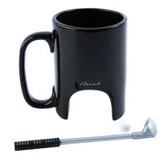 Fancy - Black Ceramic Golf Mug With Golf Club Stirrer and Small Ball - Whimsical & Unique Gift Ideas for the Coolest Gift Givers