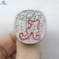 2012 Alabama Crimson Tide National Championship Ring Crystal Silver Pleated rings for men Jewelry wholesale
