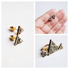 A dainty pair of earrings, featuring a golden triangle with Pyrite stones Meet Market, Golden Triangle, Stones, Stud Earrings, Jewelry, Rocks, Jewels, Studs, Schmuck