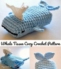 Cute and fun crochet whale tissue cozy pattern by Pops de Milk