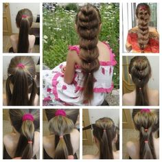 Heart Ponytail Tutorial Collage