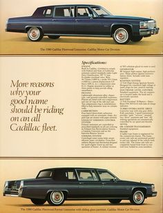 Cadillac Fleetwood, Car Advertising, Limo, Cool Names, Classic Cars, Classic Auto, Buick, Vintage Advertisements, Motor Car