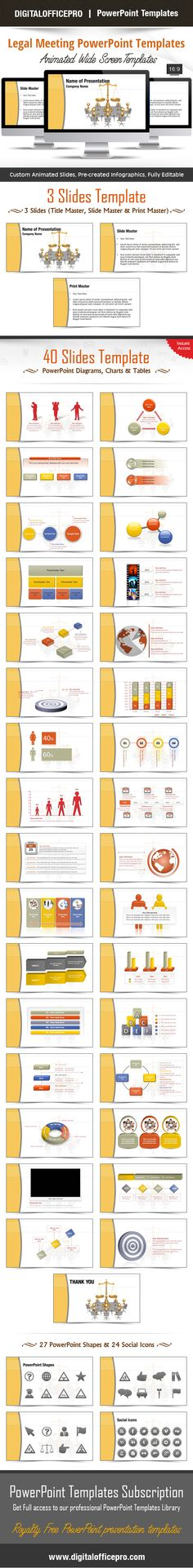 Impress and Engage your audience with Legal Meeting PowerPoint Template and Legal Meeting PowerPoint Backgrounds from DigitalOfficePro. Each template comes with a set of PowerPoint Diagrams, Charts & Shapes and are available for instant
