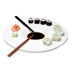 SUSHI PLATTER | Practical, Stylish, Simple Plate Holds Chopsticks, Sauce and Everything You Need for a Sushi Meal | UncommonGoods