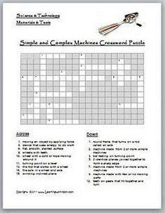 Simple + Complex Machines Crossword Puzzle