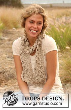 "DROPS 130-29 - Crochet DROPS scarf in ""Cotton Viscose"". - Free pattern by DROPS Design"