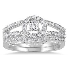 Marquee Jewels 10k Gold 3/4ct TDW Diamond Halo Bridal Ring Set