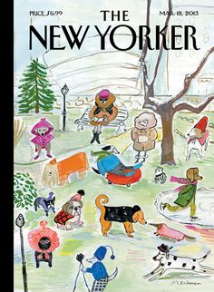 """Cover of the March 18th, 2013 issue. Click-through for the story behind """"Canine Couture"""" from its creator, Maira Kalman: http://nyr.kr/ZuAzDs"""