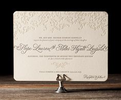 With refined and sophisticated style, this wedding invitation is the perfect letterpress accompaniment to weddings of traditional, formal design.