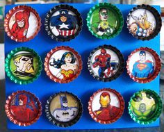 Comic Book Super Hero Magnets  bottle cap magnets