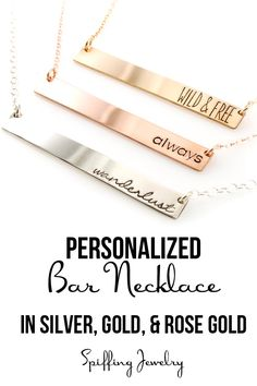 Personalize one of our stunning bar necklaces for your bridesmaids in sterling silver, gold filled, or rose gold filled. Precious metals make these necklaces a long-lasting keepsake.