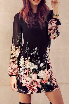 Stylish Round Collar Long Sleeve Chiffon Floral Dress For Women
