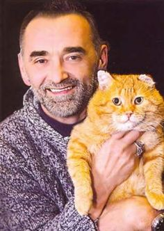Real life Alexander Maskaev - and his muse. Crazy Cat Lady, Crazy Cats, I Love Cats, Cool Cats, All Nature, Cat People, Cat Mouse, Russian Art, Grumpy Cat