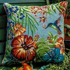 A lovely design with exotic flowers and a hummingbird.