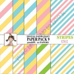 Digital Paper Set 9 Stripes product from Digital-PaperCraft on TeachersNotebook.com