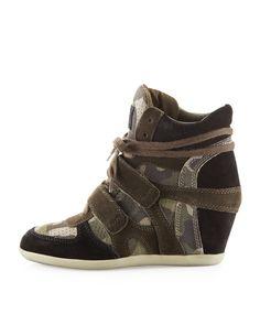 Bea Bis Camo-Print Wedge Sneaker