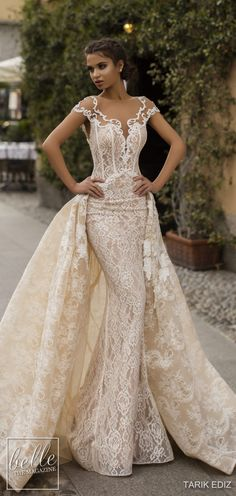 Tarik Ediz Wedding Dresses 2019 - The White Bridal Collection. Lace fitted sheath lace wedding dress with cold off the shoulder sweetheart illusion neckline with overskirt See more gorgeous wedding dresses by clicking on the photo Western Wedding Dresses, Stunning Wedding Dresses, Classic Wedding Dress, Wedding Dress Styles, Beautiful Gowns, Bridal Dresses, Lace Wedding, Mermaid Wedding, Wedding Skirt