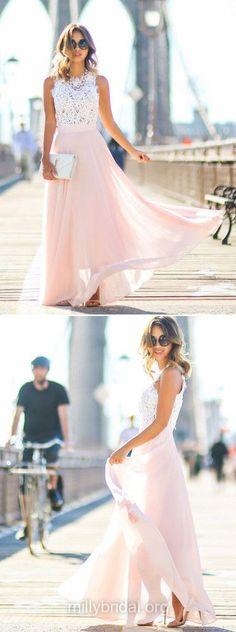 Pink Prom Dresses, Long Prom Dresses, Lace Prom Dresses A-line , 2018 Prom Dresses Scoop Neck, Chiffon Prom Dresses Beading Modest