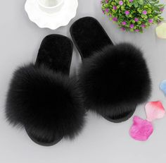Genuine Wool of Sole With Big Fox Fur Plushed thick rubber under. Fox Slippers, Winter Slippers, Fluffy Shoes, Fur Sliders, Cute Slides, White Nike Shoes, Crochet Shoes, Cute Sandals, Crazy Shoes