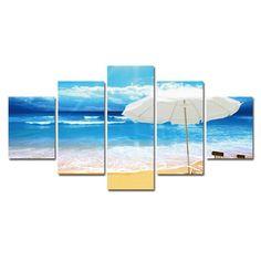 5 Piece Beach Landscape Modern Canvas