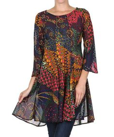 Look what I found on #zulily! Burgundy & Gold Abstract Tunic - Plus Too #zulilyfinds