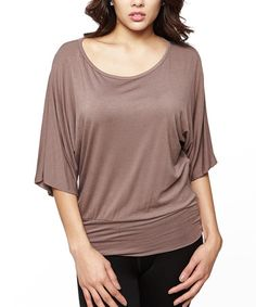 Another great find on #zulily! Mocha Wide-Sleeve Scoop Neck Top #zulilyfinds