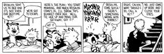 Calvin and Hobbes, March 01, 1988 - Here's the plan: you start moaning, and when Rosalyn comes in, I'll throw this blanket over her. We'll tie her up and make our getaway, got it?