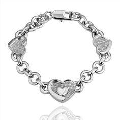 18K White Gold Plated Heart Crystal Pave Link Bracelet