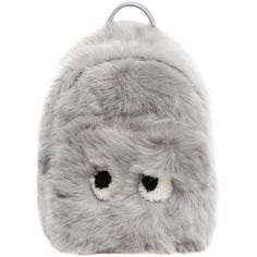Anya Hindmarch Women Mini Eyes Shearling & Leather Backpack ($2,490) ❤ liked on Polyvore featuring bags, backpacks, backpack, light grey, genuine leather backpack, leather daypack, mini leather backpack, leather backpack and anya hindmarch