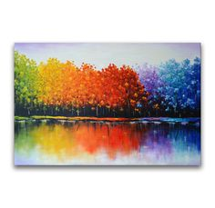 Colorful tree painting Large Abstract Landscape by ZarasShop