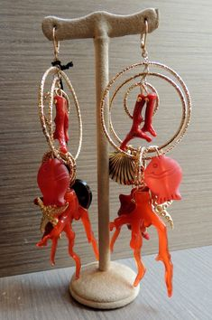 Cute coral earrings #fashion #jewel #coral