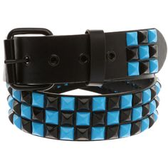 Turquoise And Black Checker Pyramid Stud Belt Pastel Goth Fashion, Studded Belt, Band Merch, Emo Outfits, Blue Crystals, Turquoise Jewelry, Hot Topic, Belt Buckles, Belts