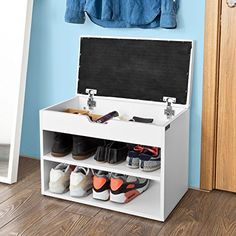 SoBuy Wooden Shoe Cabinet 2 Tiers Shoe Storage Bench Shoe Rack with Folding Padded Seat White White Wooden Shoe Rack, Wooden Shoe Rack Designs, Wood Shoe Rack, Shoe Rack Bench, Closet Shoe Storage, Bench With Shoe Storage, Shoe Cabinet Design, Wooden Shoe Cabinet, Shoe Rack Models
