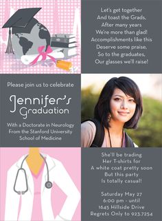 Personalized medical school party invitations