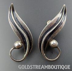 Vintage Taxco Mexico Delfino Sterling Silver Swirly Leaf Screw Back Ea – Gold Stream Boutique