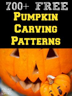 Huge Round Up of Over 700 FREE Pumpkin Carving Patterns you can use this Fall! Easy Ideas for Kids and more!