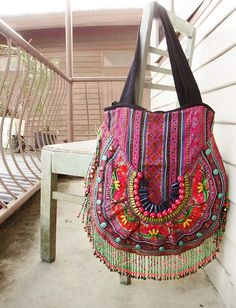 Ethnic fringe tote, embroidery colorful