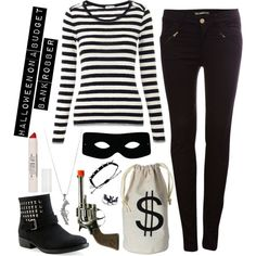 """""""Halloween Costume: Bank Robber"""" by stylesdice on Polyvore"""