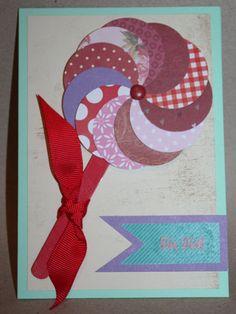 Bastelanleitung Grußkarte Lolli mit rötlichen Papieren