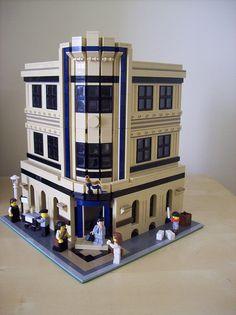 Tan, dark tan, dark blue building. Wish I had interior pics.