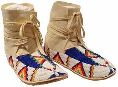 Beaded Ankle hi moccasins by Marge Mousseaux.