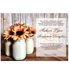 Rustic Country Mason Jar Sunflowers Wedding Invitations with a rustic barn wood background and the mason jars sitting on burlap.  These are great for country weddings.  Two Sided Design.  40% OFF when you order 100+ Invites.  #wedding #masonjars #sunflowers #countrywedding #rusticwedding