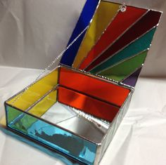 Stained Glass Jewelry Box  Colorful Geometric by PeaceLuvGlass, $48.00