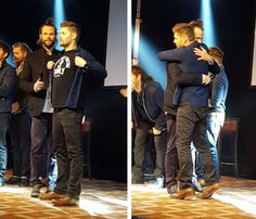 That moment that @JensenAckles reminded @jarpad to #alwayskeepfighting After Jared explained last year's struggle and Jensen revealed he was wearing his AKF shirt, and gave his little brother a hug.