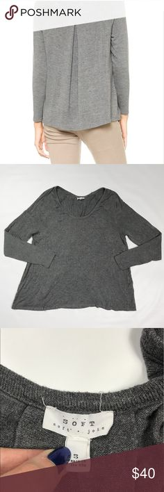 "Soft Joie Hildago Draped Sweater Soft Joie gray ""hildago"" draped sweater. Has banded neckline and long raglan sleeves. Size S. Good condition. Soft Joie Sweaters Crew & Scoop Necks"